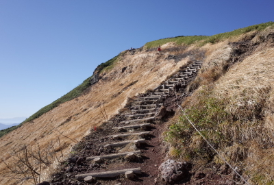 The trail is narrow and steep