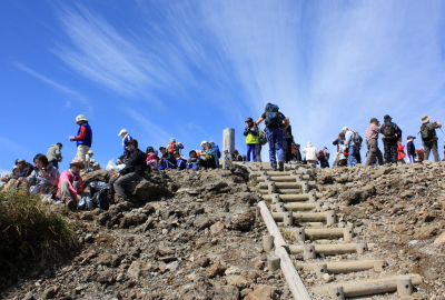 After climbing a steep slope, you can reach the summit