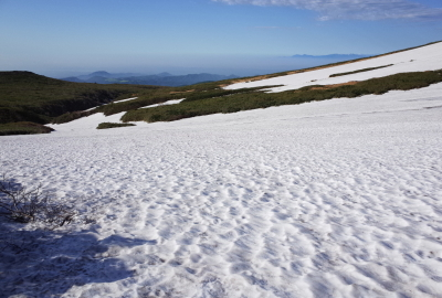 Some unmelted snow at the headstream of Shin-yuzawa in June