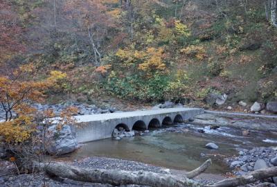 一迫川の支流である母沢に架かる沈下橋