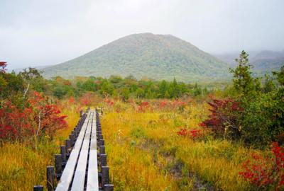 紅葉情報 大地森登山道、世界谷地